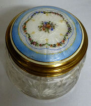 Enamel Guilloche Crystal Powder Jar