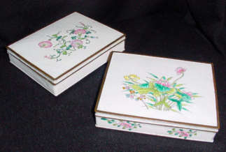 Enamel on Copper Dresser Boxes